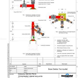 Hidrante DN150 PN16 Alimentação Lateral esquerda Fixado em Maciço